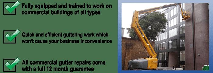 commercial gutter cleaning work being undertaken